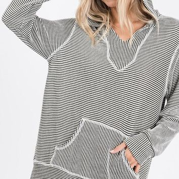 Olive and White Pin Stripe Hoodie
