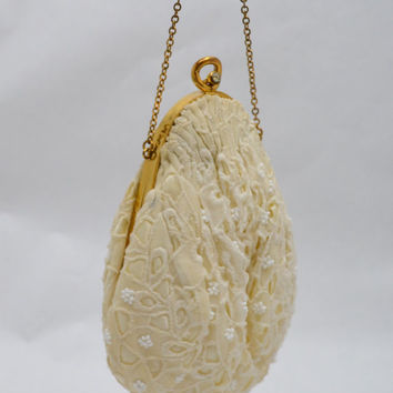 Vintage Eyelet Fabric Pouch or Purse with Beads and Rhinestone Clasp, Off White, Gold Tone Chain Strap, circa 1950s