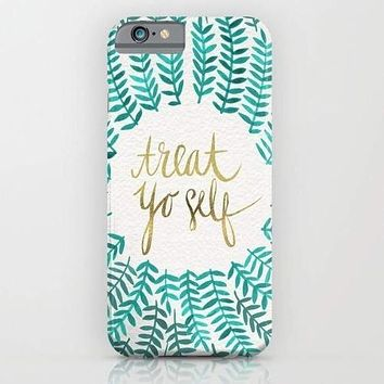 Treat Yo Self – Gold & Turquoise Mobile Cover