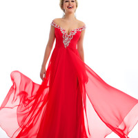 Mac Duggal Prom 2013 - Cherry Chiffon Off the Shoulder Prom Dress - Unique Vintage - Prom dresses, retro dresses, retro swimsuits.