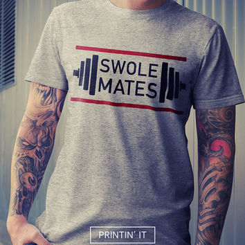 Swole mates - soul mates - unisex RUN DMC style t-shirt - Fitness shirt - Bodybuilding - Sports - Gym t-shirt -  white, black, gray colors.