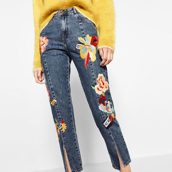 EMBROIDERED JEANS Blue - 29 (US 8)