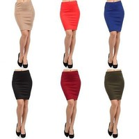 Sexy High Waist Stretchy Tight Bodycon Mini Skirt Open Slit Back Pencil Skirt