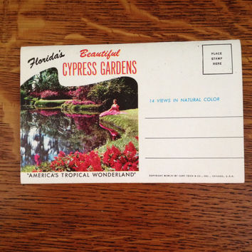 Vintage Florida's Beautiful Cypress Gardens  Souvenir Postcard Foldout Book