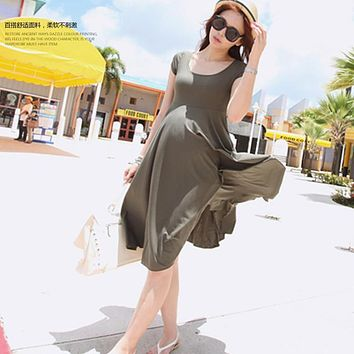 Modal cotton 8830 2017 maternity clothing summer short-sleeve maternity dress maternity dress one-piece over-the-knee full dress