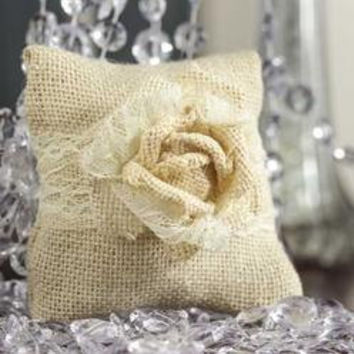 Burlap Lace Ring Bearer Pillow Rings Couples Boy