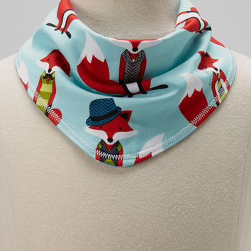 Personalized Reversible Drool Bandana Bib - Baby Boy Aqua Teal and Red Foxes and Polka Dots