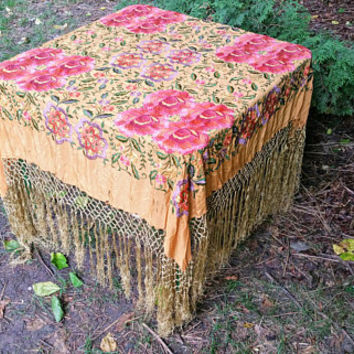 Antique Victorian Yellow Embroidered Piano Shawl