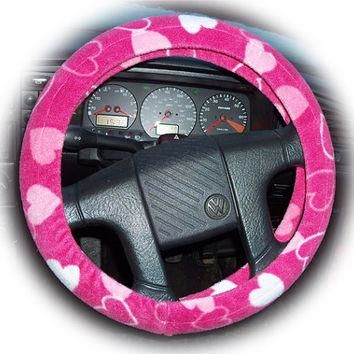 Cute Pink Hearts fleece car steering wheel cover