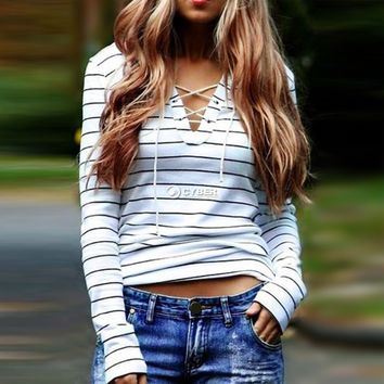 Womens V-Neck Lace Up Shirts Long Sleeve Loose Blouse Striped Tops Casual Tee
