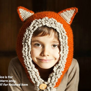 Instant download - Hat and scarf Crochet PATTERN (pdf file) - Fox - Wolf Hat Hoodie (sizes baby, toddler, child)