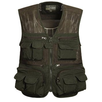 Men's Cotton Comfortable Photographer Hunting Fishing Mesh Vest