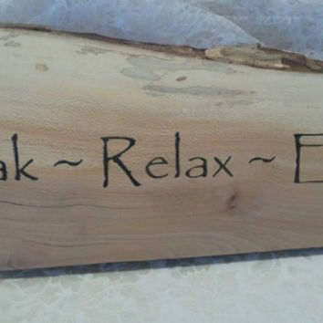 Soak Relax Enjoy Rustic Wood Sign Home Decor Hand Painted