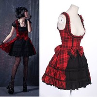 Women Red Plaid Fringe Gothic Lolita Steampunk Polonaise Dress Casual SKU-11402247