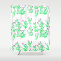 Prickly Pear Spring - White Shower Curtain by Lisa Argyropoulos | Society6