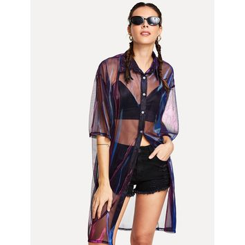 See-Through Mesh Longline Shirt