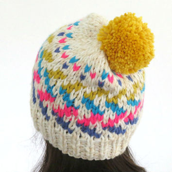 Pom Pom Beanie, Chunky Hat, Knitted Beanie, Zig Zag Hat, Colorful Knit Hat, Women Hat, Fair Isle Beanie, Winter Hat, Fall Fashion, Teens Hat