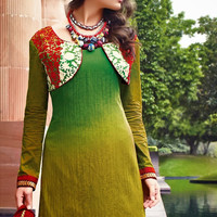 Lawn Green and Mehandi Cotton Jacquard Palazzo Style Suit