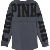 Victoria's Secret PINK Varsity Crew Small Dark Gray Long Sleeve