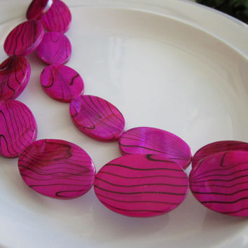 13 Fuschia Pink - Black - Zebra Shell Flat Beads - 3mmx20mmx30mm - jewelry bead supplies - zebra shell bead - oval zebra shell beads - pink