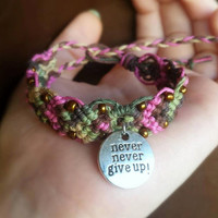 Never Give Up Bracelet Quote Charm Hemp Bracelet Beaded Camo and Pink Inspirational Jewelry Cuff Bracelet