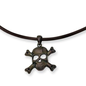 Men's Black Stainless Steel Skull and Cross Bones Necklace