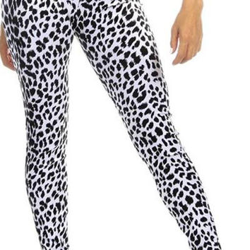 Sexy High Waist Cuff Roll Down Stretch Work Out Athletic Leggings - Snow Leopard