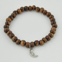 Wooden Beaded Charm Bracelet -- Mexicali Blues