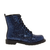 Shellys London Surba Navy Glitter Lace Up Worker Ankle Boots