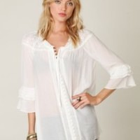Free People Sheer Shoulder Buttondown with Ruffle Sleeves at Free People Clothing Boutique