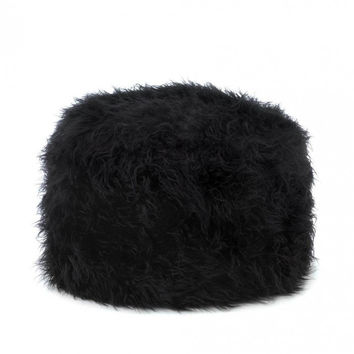Accent Plus Fuzzy Black Ottoman Pouf