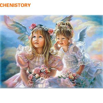 CHENISTORY Happiness Angels DIY Painting By Numbers Kits Wall Art Picture Acrylic Figure Painting For Home Decor 40x50cm Artwork
