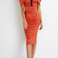 Vivi Velvet Dress - Rust