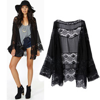 spring summer lady Floral Kimono cardigan hollow Chiffon lace girl thin Loose spliced Fringe Tassel Top Jacket vintage Ruffle