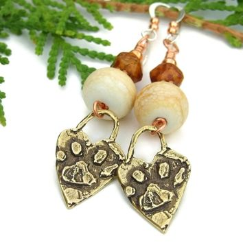 Bronze Dog Paw Print Handmade Earrings, Ivory Lampwork Artisan Jewelry