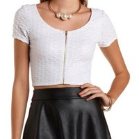 Zip Front Shimmer Crop Top by Charlotte Russe - White