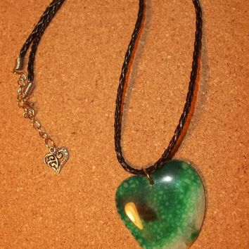 "Green Agate Heart Pendant on Braided Black Leather Cord 18"" - 20"" Necklace"