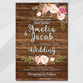Watercolor Wedding Invitation, Rustic wood Invitation, Custom invitation, diy wedding, etsy wedding invitation XW002w