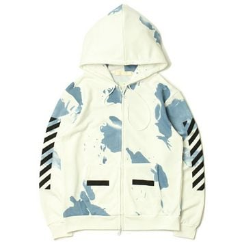 Ink camouflage oblique striped hooded sweater men and women cardigan