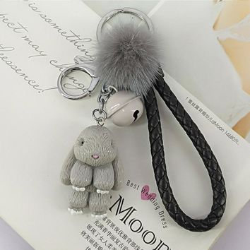 Rabbit Keychain Pokemon Fluffy Fur Ball Key Chains for Women Bags Pendant Decoration Pom Poms Keyring Fashion Kids Easter Gifts