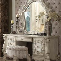 3 pc Versailles collection bone white finish wood bedroom make up vanity