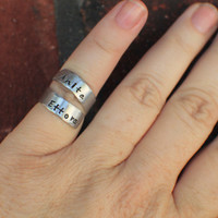 Personalized Ring - Hand Stamped Ring - Hand Stamped Jewelry - Adjustable Hand Stamped Wrap Ring - Names