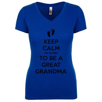 Keep Calm I'm Going To Be A Great Grandma Women's V Neck