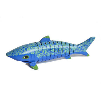 Wooden shark, hand painted fish figure, blue and green, articulated art toy