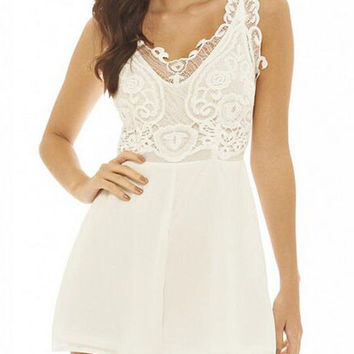 Beige V-neck Lace Embroidery Stitching Chiffon Sleeveless High Waist Rompers