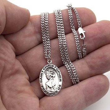 "925 Sterling Silver Saint Christopher Medal Pendant Men Women 24"" Chain Necklace"