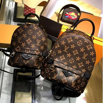 LV Fashion Women Personality Zipper School Bag Cowhide Leather Backpack I