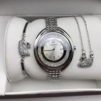 Swarovski Women Fashion Diamonds Delicate Wristwatch Watch Necklace Bracelet Three Piece Suit-1