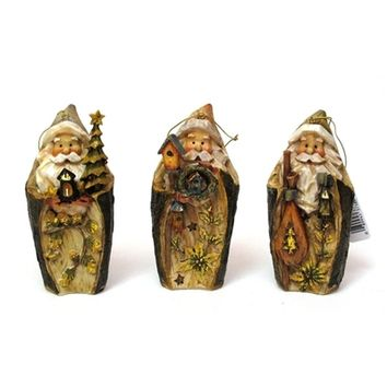 SheilaShrubs.com: Roman Carved Santa Ornament (Set of 3) 0182-38481 by Roman Inc.: Christmas Tree Ornaments