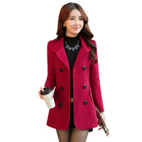 Multicolor Women Blazers And Jackets 2016 Casual Slim Women Double-Breasted Button Blazers Wool Coat Plus Size Blaser Femenino